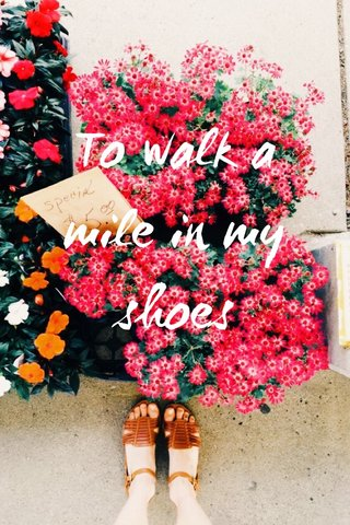 To walk a mile in my shoes