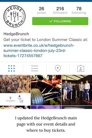 I updated the HedgeBrunch main page with our event details and where to buy tickets.