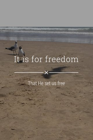 It is for freedom That He set us free