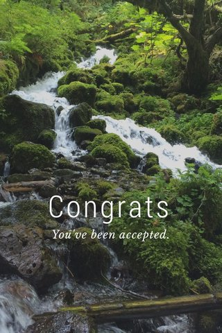 Congrats You've been accepted.