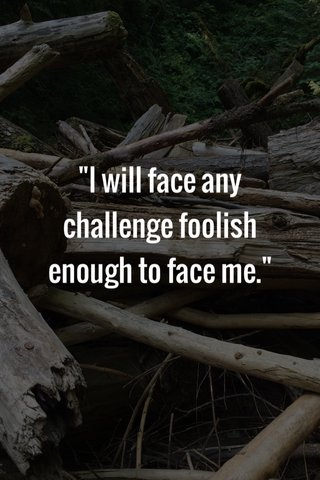 """""""I will face any challenge foolish enough to face me."""""""