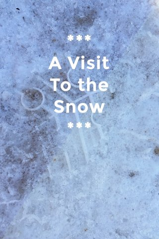 *** A Visit To the Snow ***