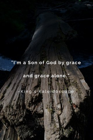 """""""I'm a Son of God by grace and grace alone."""" ~King's Kaleidoscope"""