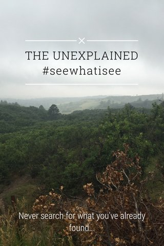 THE UNEXPLAINED #seewhatisee Never search for what you've already found...