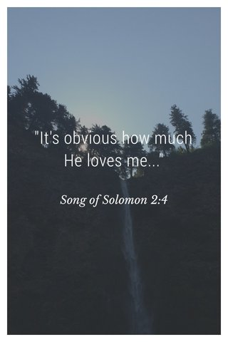"""""""It's obvious how much He loves me..."""" Song of Solomon 2:4"""