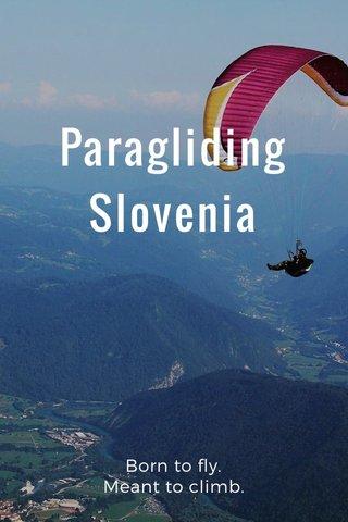 Paragliding Slovenia Born to fly. Meant to climb.