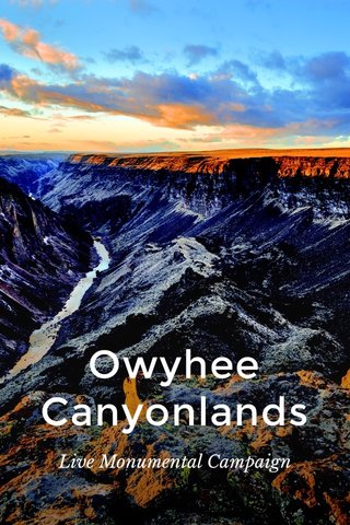 Owyhee Canyonlands Live Monumental Campaign