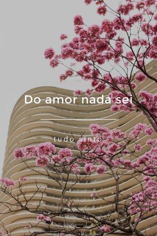 Do amor nada sei tudo sinto