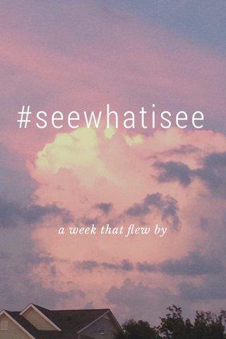 #seewhatisee a week that flew by