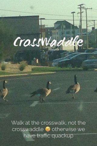 CrossWaddle Walk at the crosswalk, not the crosswaddle 😜 otherwise we have traffic quackup
