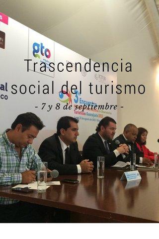 Trascendencia social del turismo - 7 y 8 de septiembre -