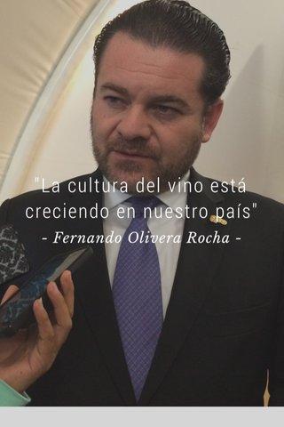 """""""La cultura del vino está creciendo en nuestro país"""" - Fernando Olivera Rocha -"""