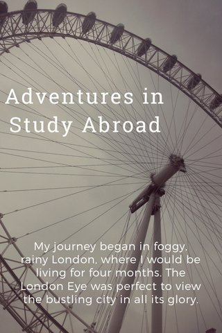 Adventures in Study Abroad My journey began in foggy, rainy London, where I would be living for four months. The London Eye was perfect to view the bustling city in all its glory.