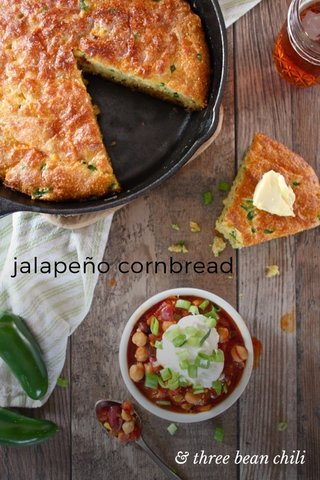 jalapeño cornbread & three bean chili