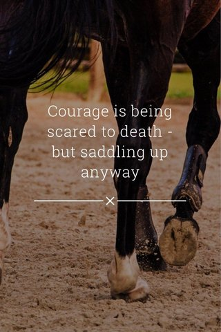 Courage is being scared to death - but saddling up anyway