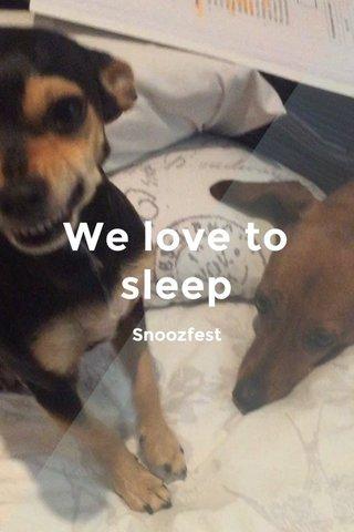 We love to sleep Snoozfest
