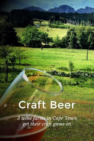 Craft Beer 3 wine farms in Cape Town get their craft game on