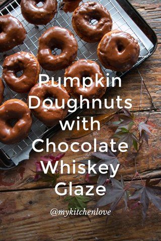 Pumpkin Doughnuts with Chocolate Whiskey Glaze @mykitchenlove