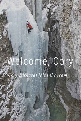 Welcome, Cory Cory Richards joins the team