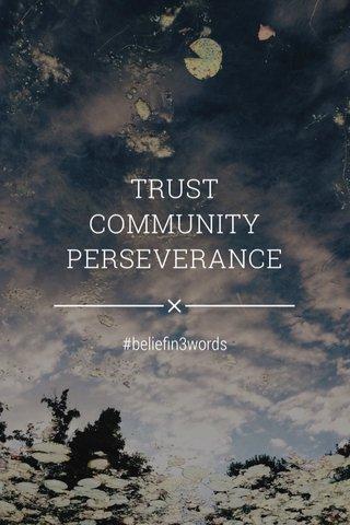 TRUST COMMUNITY PERSEVERANCE #beliefin3words