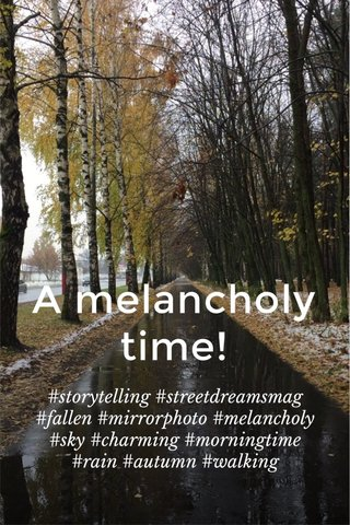 A melancholy time! #storytelling #streetdreamsmag #fallen #mirrorphoto #melancholy #sky #charming #morningtime #rain #autumn #walking