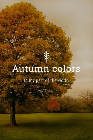 Autumn colors In my part of the world