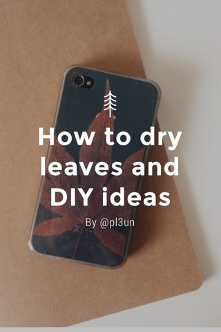 How to dry leaves and DIY ideas By @pl3un