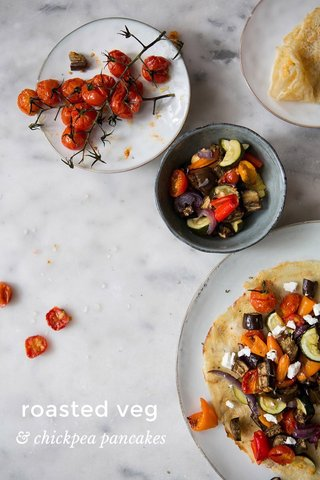 roasted veg & chickpea pancakes