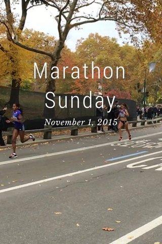 Marathon Sunday November 1, 2015