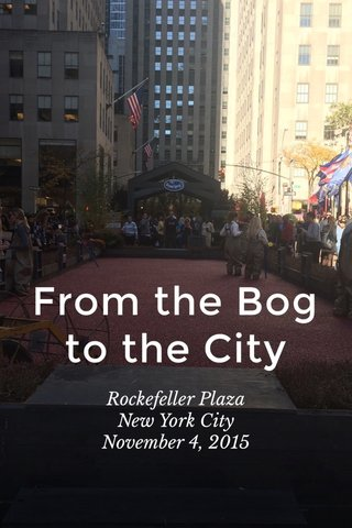 From the Bog to the City Rockefeller Plaza New York City November 4, 2015