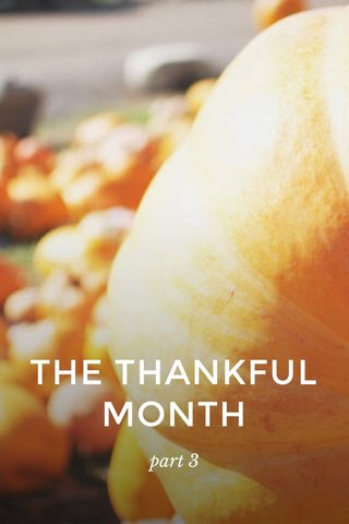 THE THANKFUL MONTH part 3