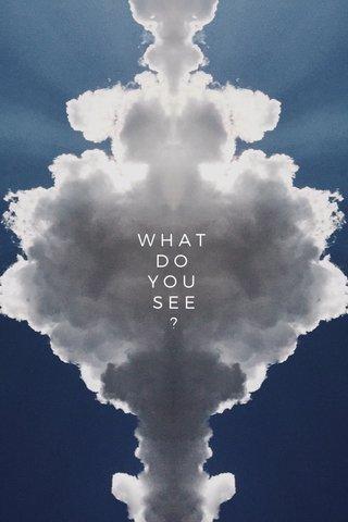 what do you see? W H A T D O Y O U S E E ?