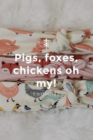 Pigs, foxes, chickens oh my! || just listed ||