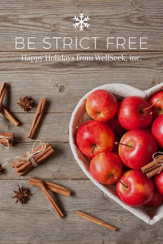 BE STRICT FREE Happy Holidays from WellSeek, inc.
