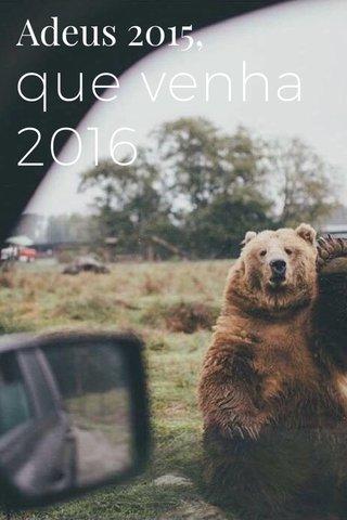 que venha 2016 Adeus 2015,