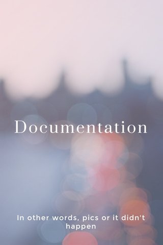 Documentation In other words, pics or it didn't happen