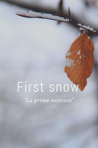 """First snow """"La prima nevicata"""""""