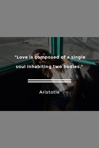 """""""Love is composed of a single soul inhabiting two bodies."""" Aristotle"""