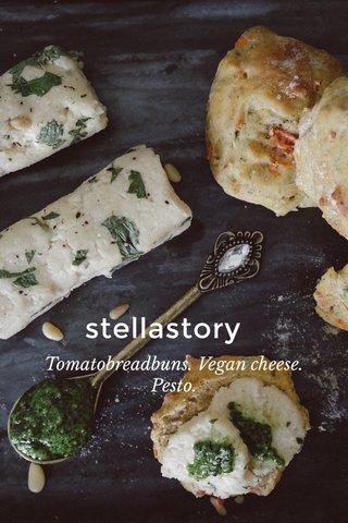 stellastory Tomatobreadbuns. Vegan cheese. Pesto.