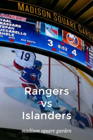 Rangers vs Islanders madison square garden