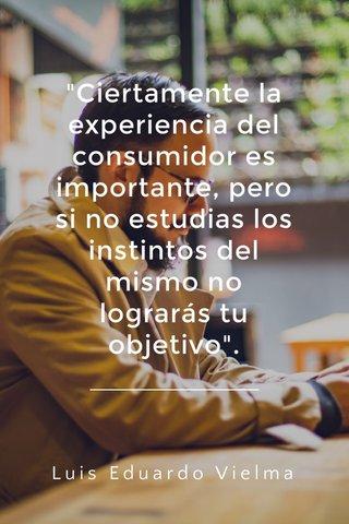 """""""Ciertamente la experiencia del consumidor es importante, pero si no estudias los instintos del mismo no lograrás tu objetivo"""". Luis Eduardo Vielma"""