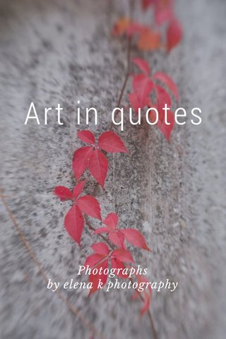Art in quotes Photographs by elena k photography