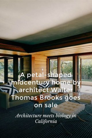 A petal-shaped midcentury home by architect Walter Thomas Brooks goes on sale Architecture meets biology in California
