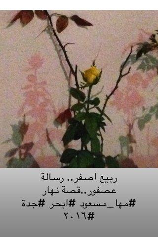 ربيع اصفر.. رسالة عصفور..قصة نهار #مها_مسعود #ابحر #جدة #٢٠١٦