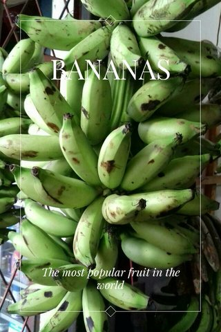BANANAS The most popular fruit in the world