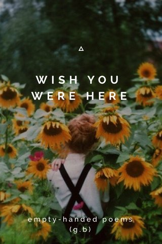 WISH YOU WERE HERE empty-handed poems (g.b)