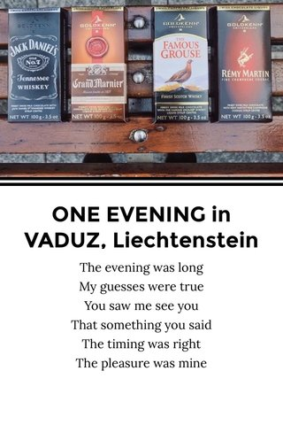 ONE EVENING in VADUZ, Liechtenstein