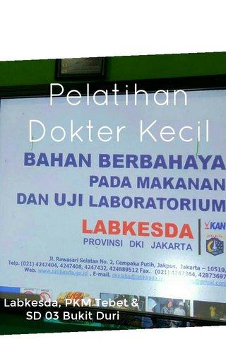 Pelatihan Dokter Kecil Labkesda, PKM Tebet & SD 03 Bukit Duri