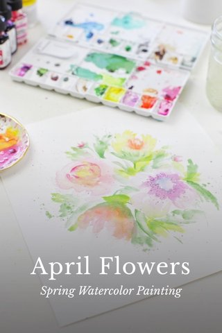 April Flowers Spring Watercolor Painting