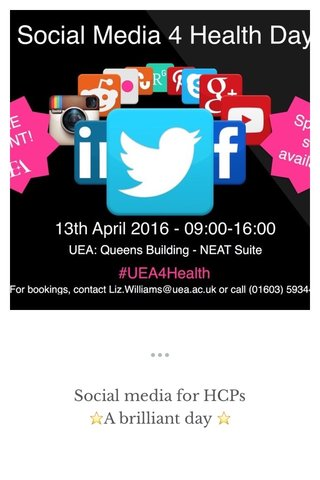 Social media for HCPs ⭐️A brilliant day ⭐️